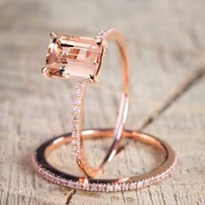 Jewelry - 2Pcs Ring/Set Rose Gold White Crystal Zirconia